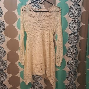 Anthropologie Open Knit  Creme  Long Sweater
